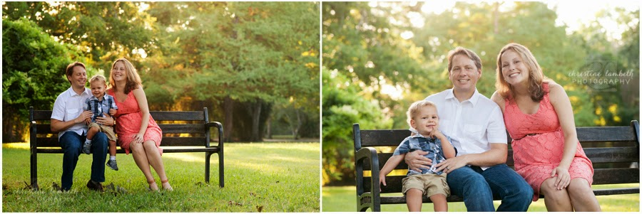 Family of three sitting on bench photos