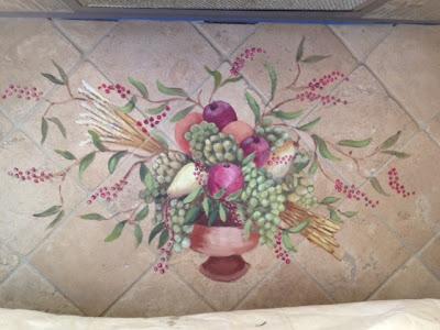 Painting done on tile back splash.