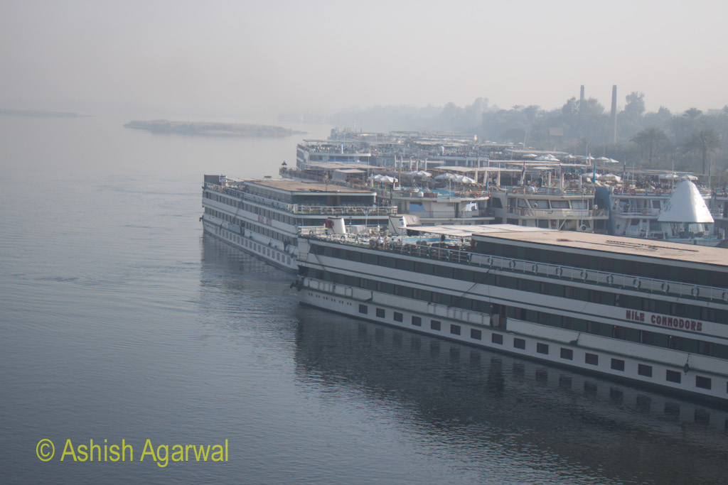 Many cruise ships lined up on the River Nile in Luxor