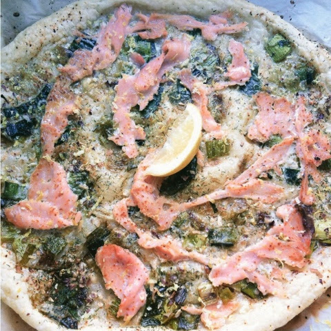 puff pastry, pizza, smoked salmon, leeks, recipe