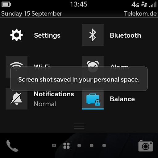 Cara Screenshoot di BlackBerry Q10
