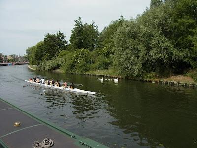 運河でレガッタの練習