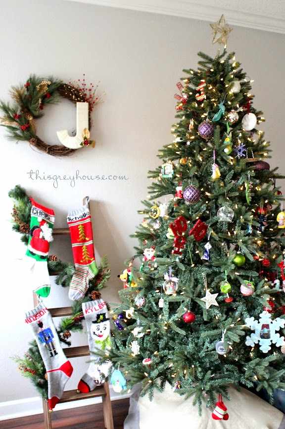 DIY Stocking Christmas Ladder by This Grey House