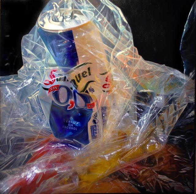 Lata de cerveza y plástico,obra del pintor Suso C. Ben