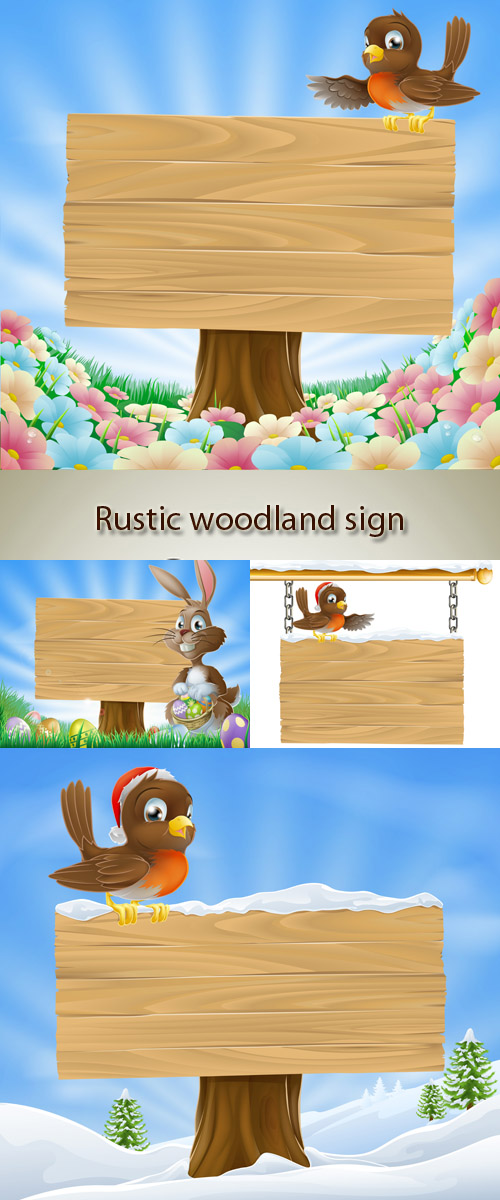 Stock: Rustic woodland sign