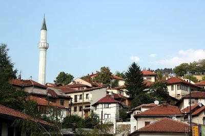 Sarajevo cityscape with minaret in Bosnia