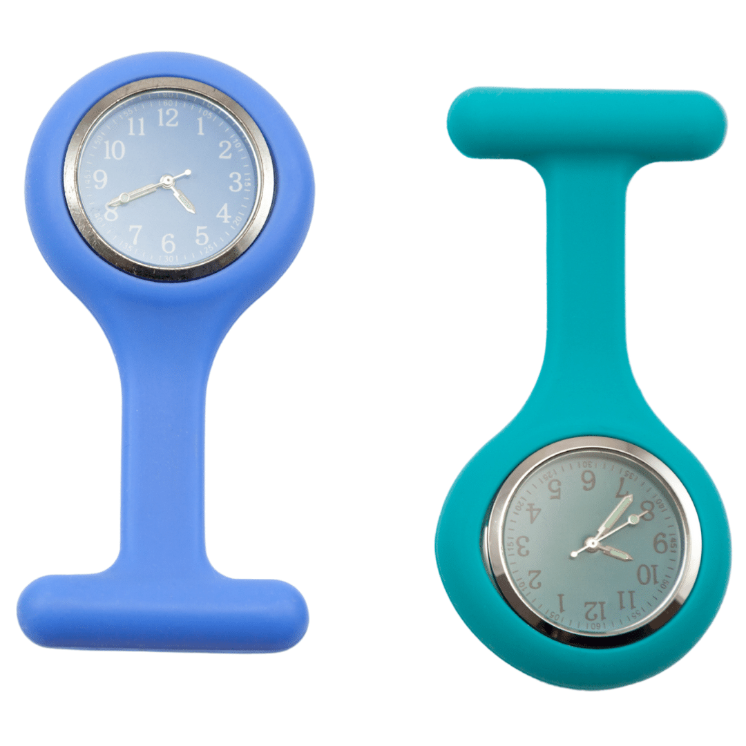 Photo of two lapel watches, consider one of the best watches for nurses