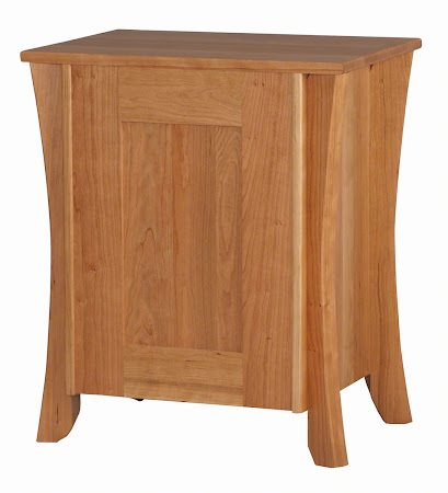 Kyoto Nightstand with Drawers, in Natural Cherry, Solid Hardwood Rear Panel