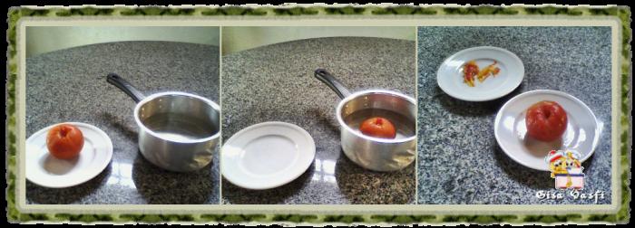 Despelando tomates e pimentões