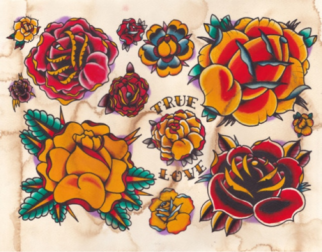Traditional Flower Tattoo Flash