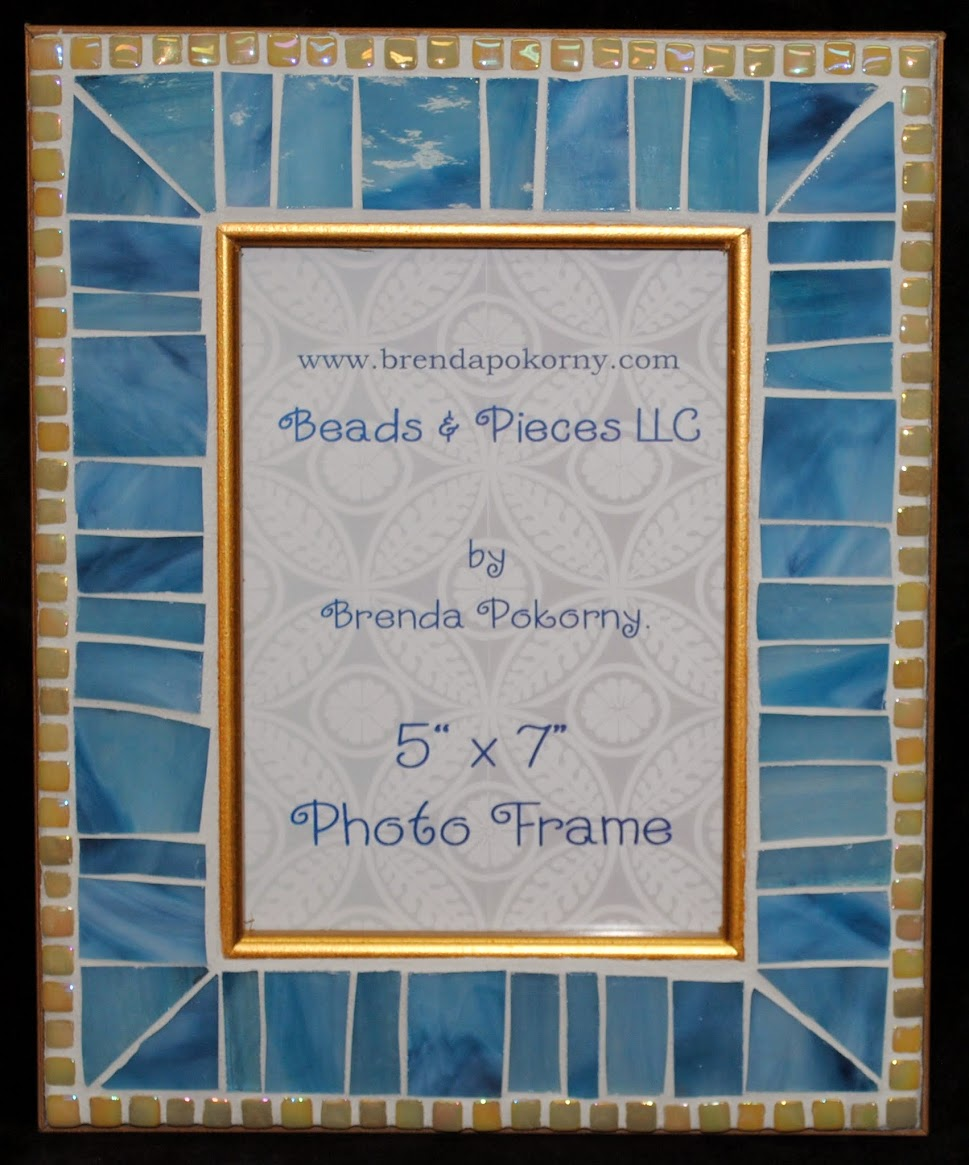 "Softest Blue & Pearl 5"" x 7"" Mosaic Photo Frame MOF1375"