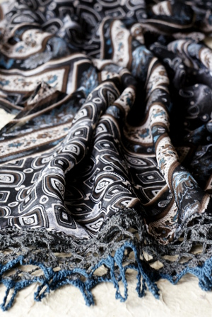 silk scarf with crochet edging