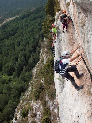 Flanqueig a la ferrada de les Roques de l'Empalomar, el tram més aeri