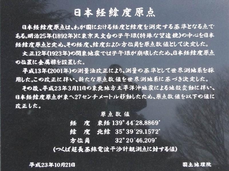 日本経緯度原点碑(新)