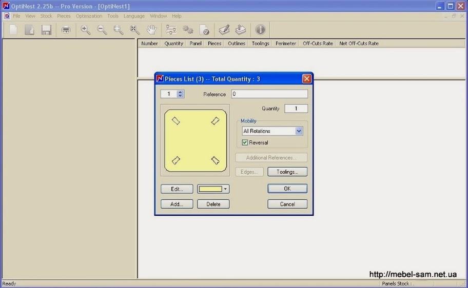 OptiNest, настройка параметров каждой экспортированной детали