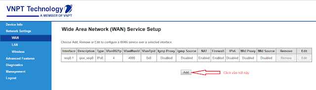 Network Settings chọn WAN