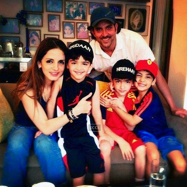 Hrithik Roshan and Suzanne's sons Hrehaan and Hridhaan clicked during happier times when their parents were together.