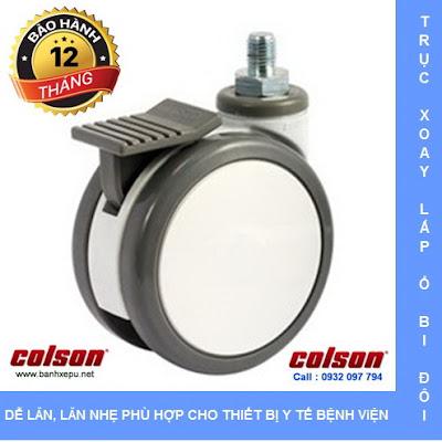 Bánh xe y tế trục ren có khóa CPT Colson Caster Mỹ phi 75 | CPT-3854-85BRK4