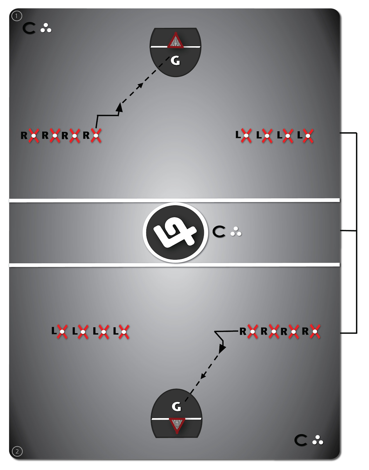 Lacrosse Shooting Drill #2 diagram, the step & shoot, shows the most common footwork patterns to add to the set shot, the L-Shot.