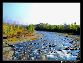 View of Siran River in autumn. Mahsehra, Khyber Pakhtunkhwa