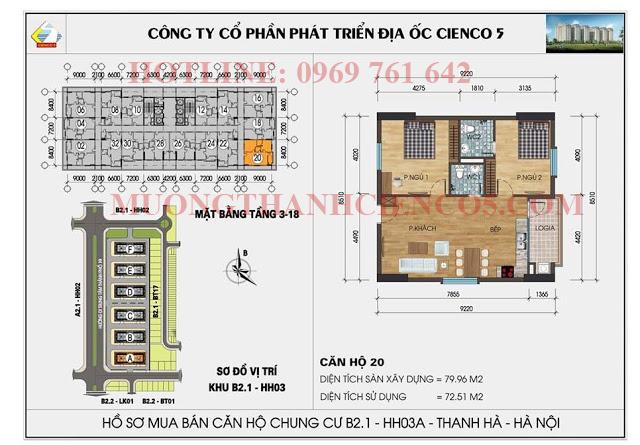Sơ đồ chi tiết căn hộ chung cư b2.1 HH03A căn 20