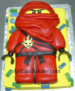 Custom Ningago sculpted character cake with fondant lego blocks kids creative birthday cake