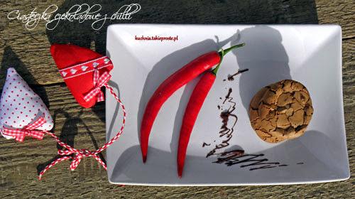 Mocno czekoladowe ciasteczka z chilli