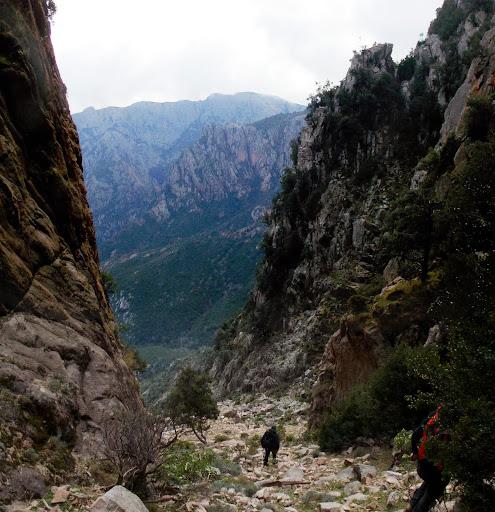 Le début du couloir de descente du ravin SE d'I Signori