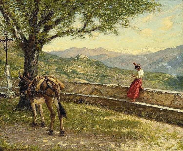 Henry Herbert La Thangue - Calling to the Valley