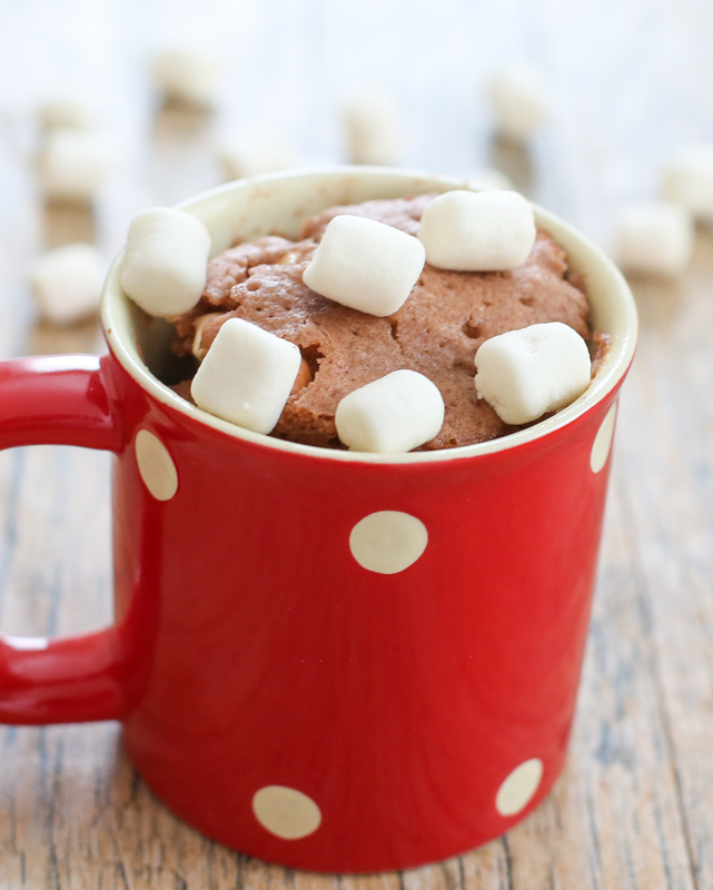 close-up photo of a hot chocolate mug cake