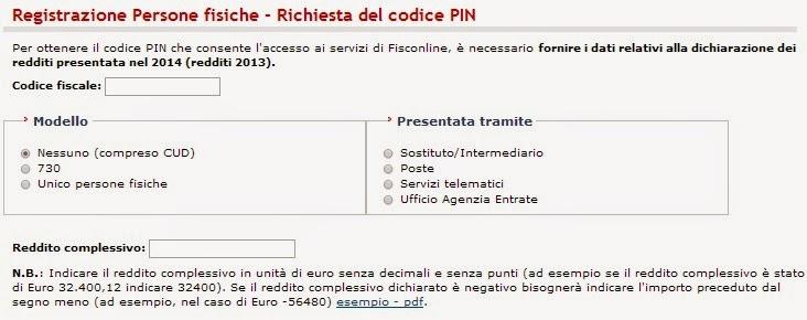 Come richiedere codice Pin Agenzia Entrate