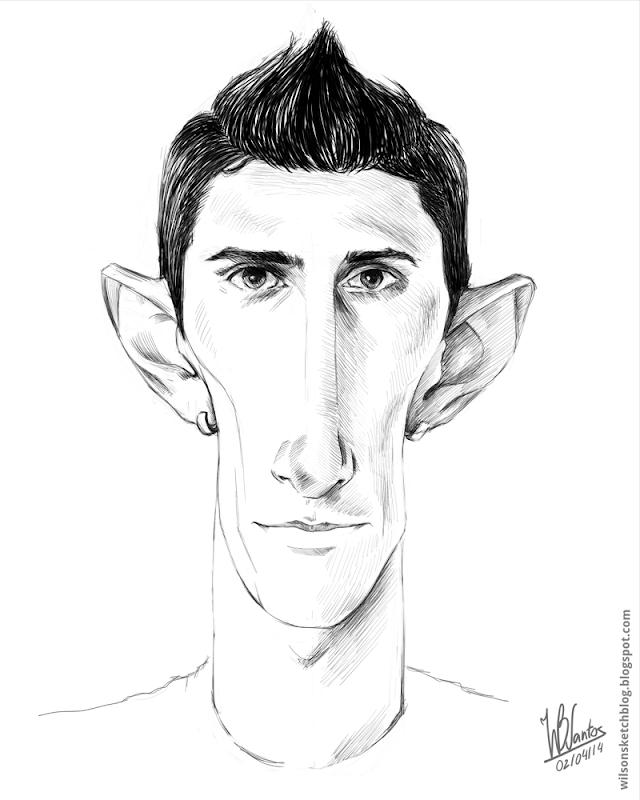 Sketch caricature of Ángel di María, using Krita.