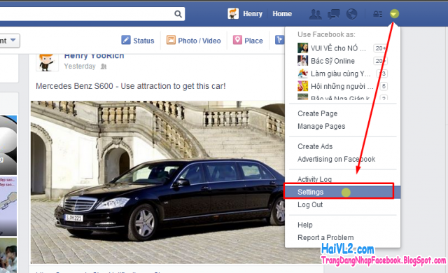 vào phẩn quản lý thiết lập tài khoản facebook