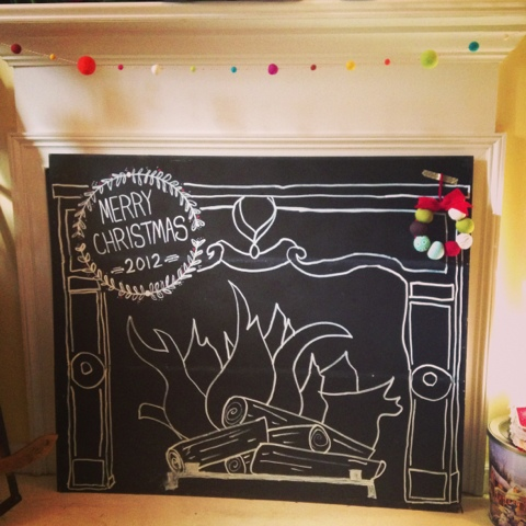 Tunes and Spoons: chalkboard fireplace