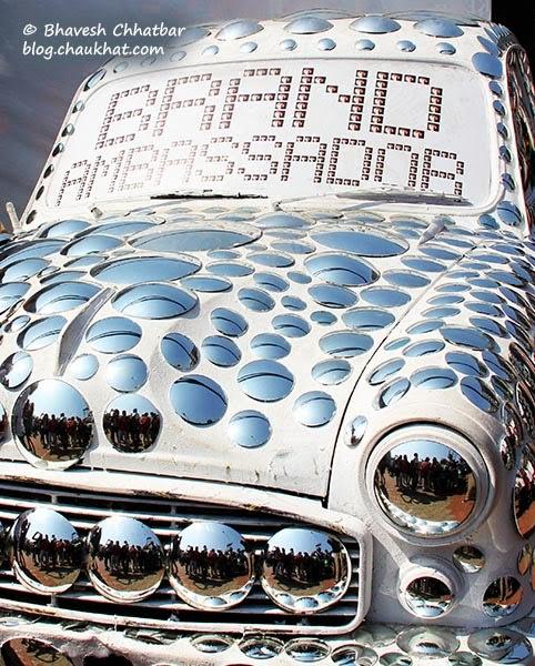 Kala Ghoda - Ambassador car art piece decorated with mirrors