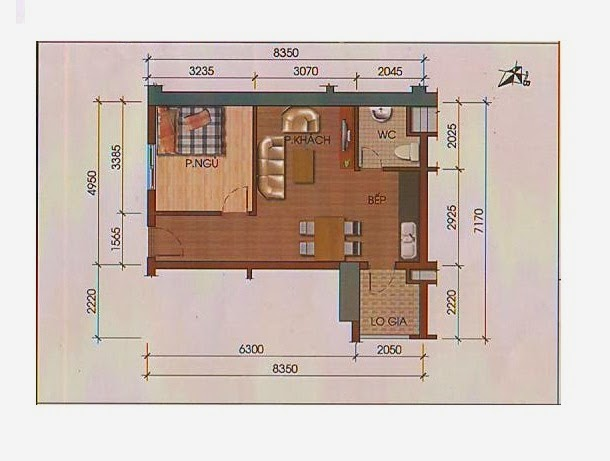 Căn hộ 1 phòng ngủ chung cư HH3 Linh Đàm - 0917078221