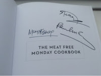 Signed front page of meatfree Monday cookbook