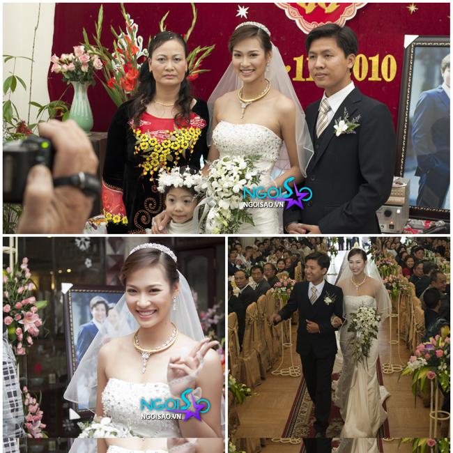 Vương Thu Phương trong đám cưới với Bùi Huy Phương