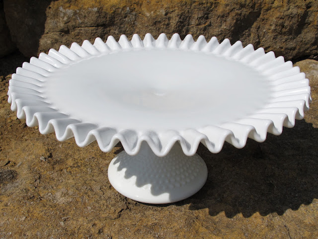 Hobnail Milk Glass Cake Stand from the rental inventory of www.momentarilyyours.com