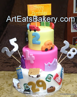 Three tier fondant birthday cake for 5 people with something special for everyone