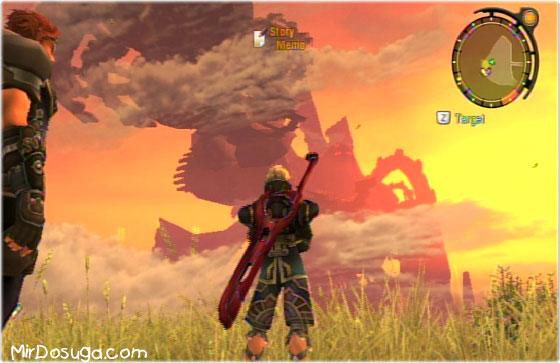Шулк из Xenoblade Chronicles смотрит на голема