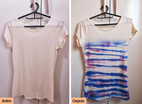 como customizar camiseta de um jeito fácil - antes e depois - customização com Pump Dye