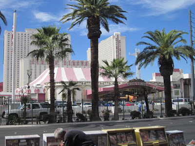 circus entrance palm trees vegas stock photo