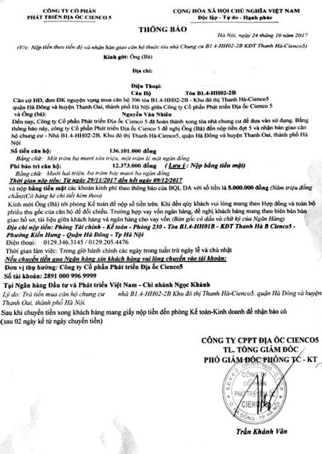 Thông Báo Lịch Đóng Tiền Đợt 5 Khu 6 Tòa Chung Cư HH02 Thanh hà