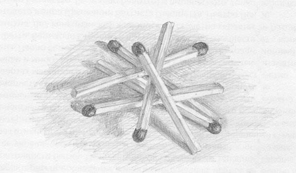 спички, рисунок, карандаш