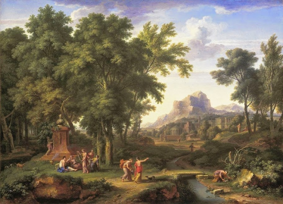 Jan van Huysum - Arcadian landscape with a bust of Flora