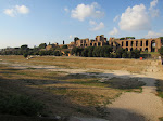 After an afternoon siesta, we ventured south on the Metro to the Circus Maximus.  That's it in the foreground with the Palatine hill behind it (where