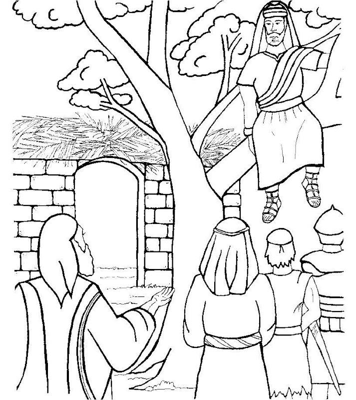 Jesús y zaqueo para colorear
