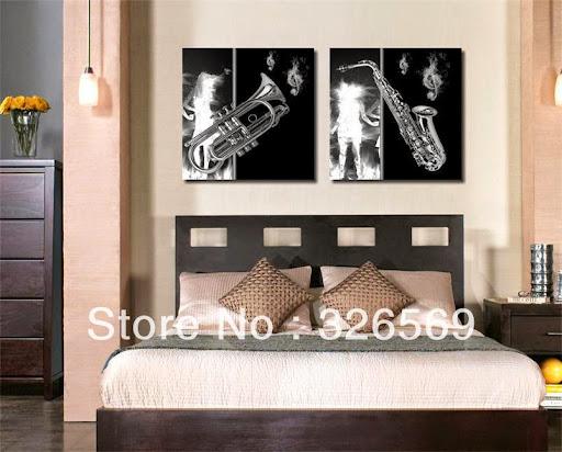 music theme black white wall art Canvas Prints Classica