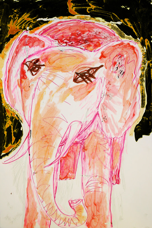 pink elephant (drawing by frank waaldijk)